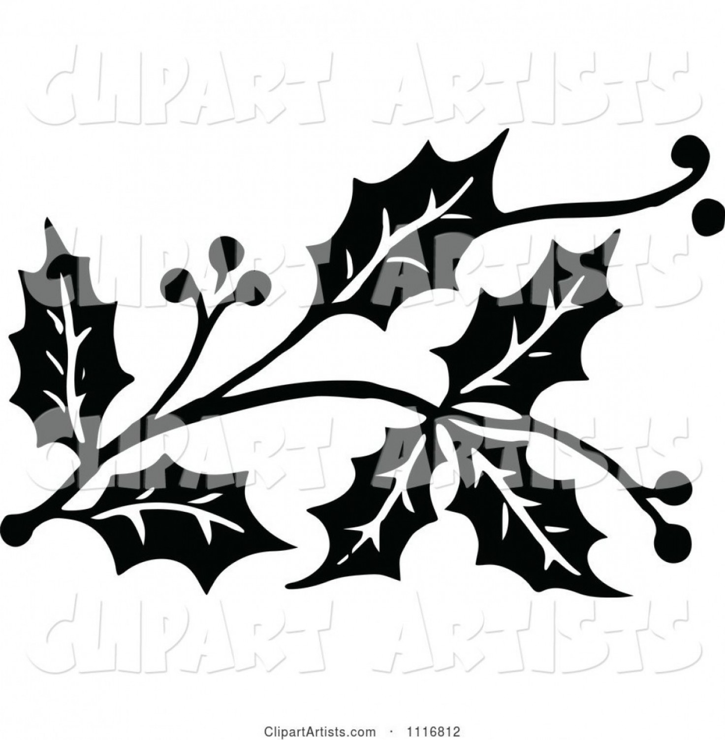 Vector Clipart Vintage Black And White Christmas Holly Sprig Design.
