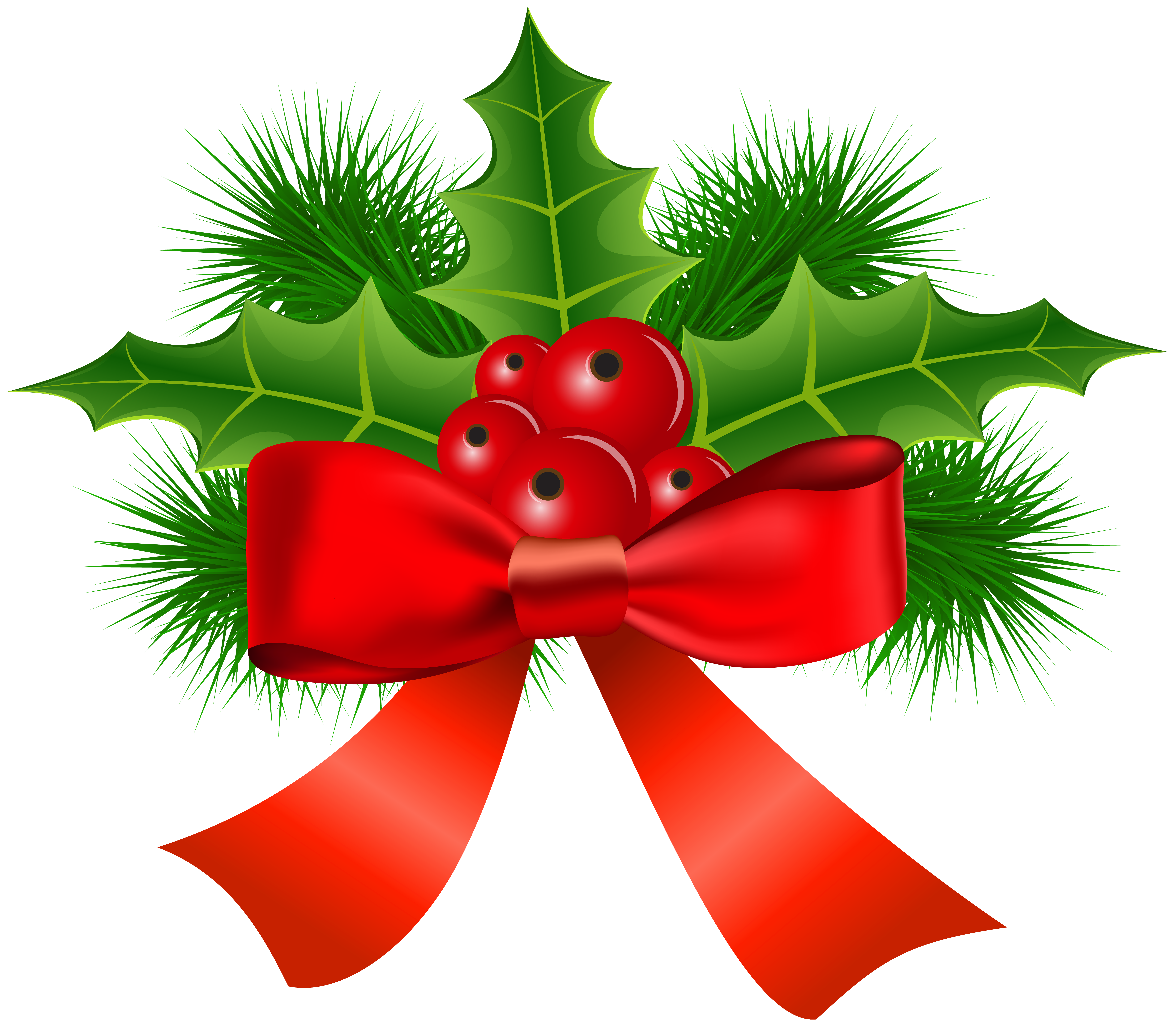 Christmas Holly Transparent PNG Clip Art.