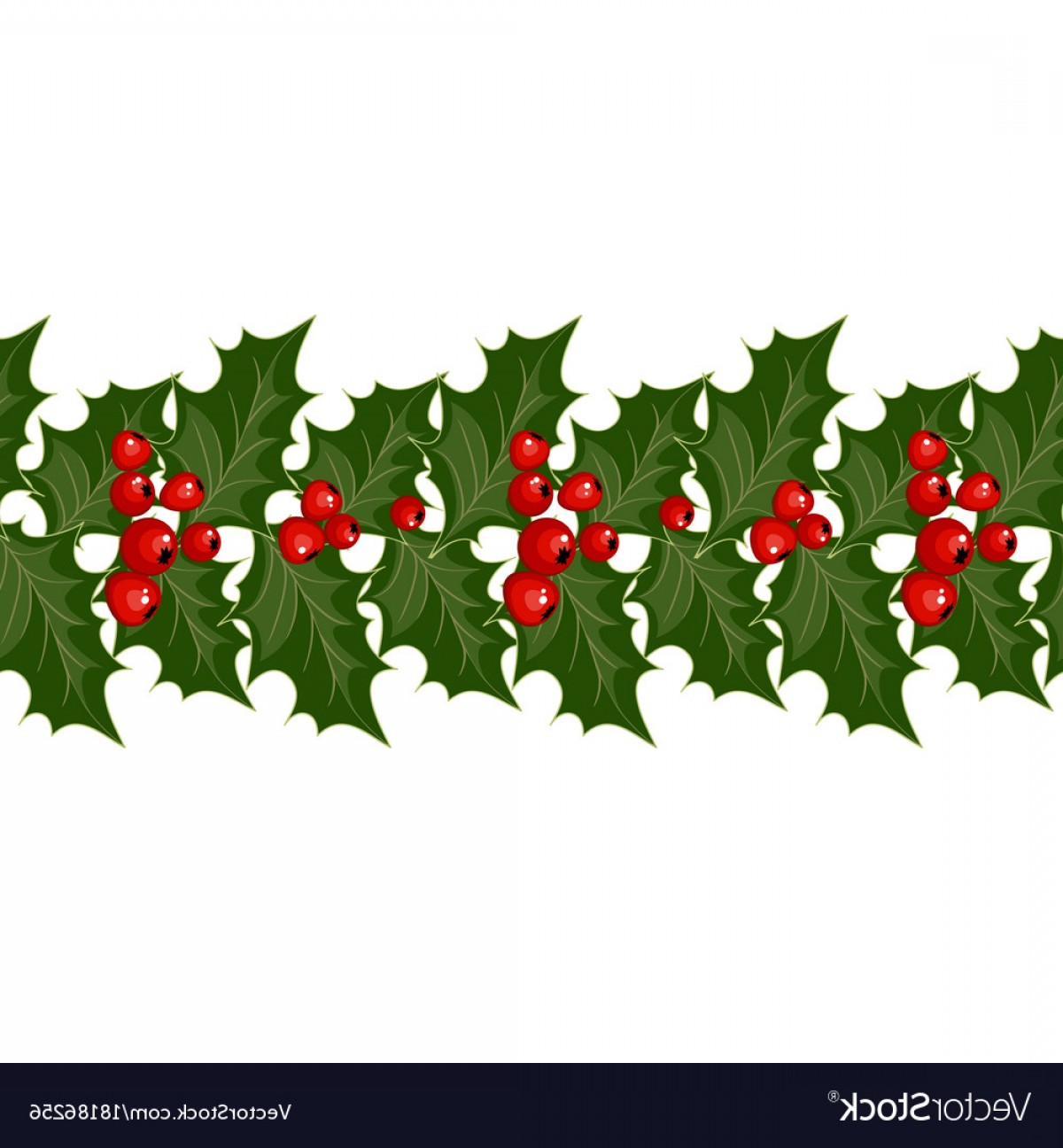 Christmas Decorations With Holly And Red Berries Vector.