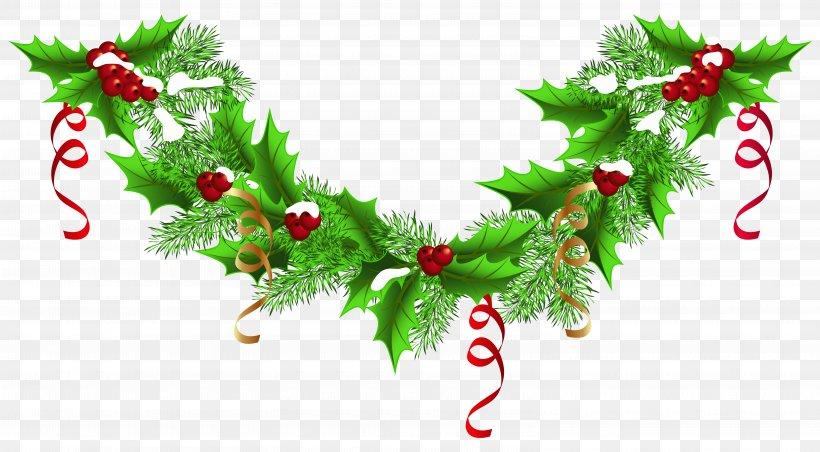 Christmas Garland Wreath Clip Art, PNG, 6290x3469px.