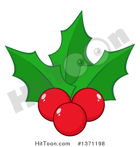 Holly Clipart #1371198: Christmas Holly Leaves and Berries by Hit Toon.