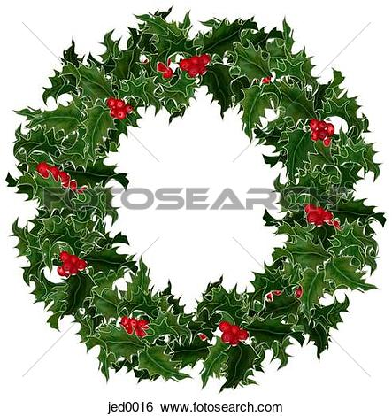 Stock Illustration of holly wreath jed0016.