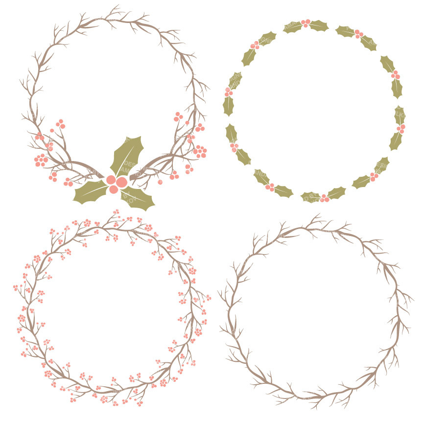 Holly Wreaths Clipart in Vintage.