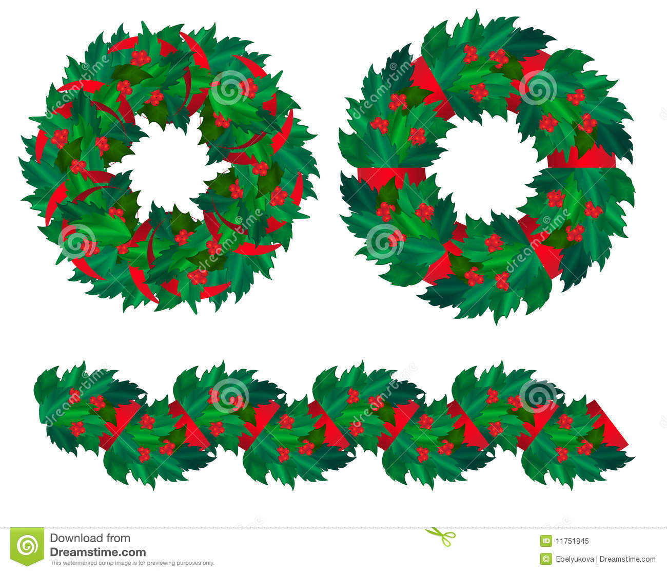 Set Of Christmas Holly Wreaths And Garland. Royalty Free Stock.
