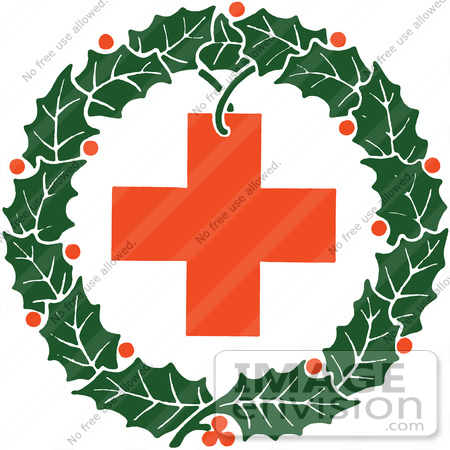 Clipart Of A Retro Christmas Holly Wreath And Red Cross.