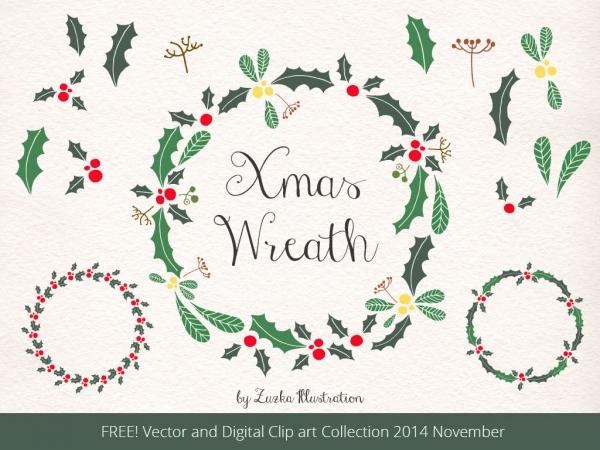 FREE Christmas Wreath, Holly Vector and Xmas Digital Clip Art.