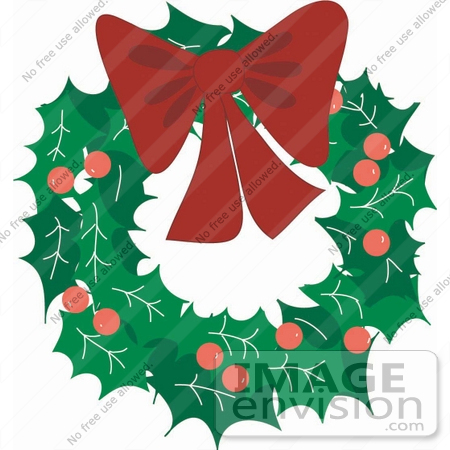 Christmas Clipart Of A Holly Berry And Leaf Wreath With A Red Bow.