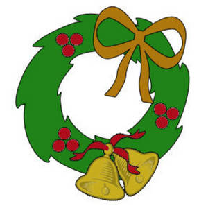 Clipart Picture of a Christmas Holly Wreath.