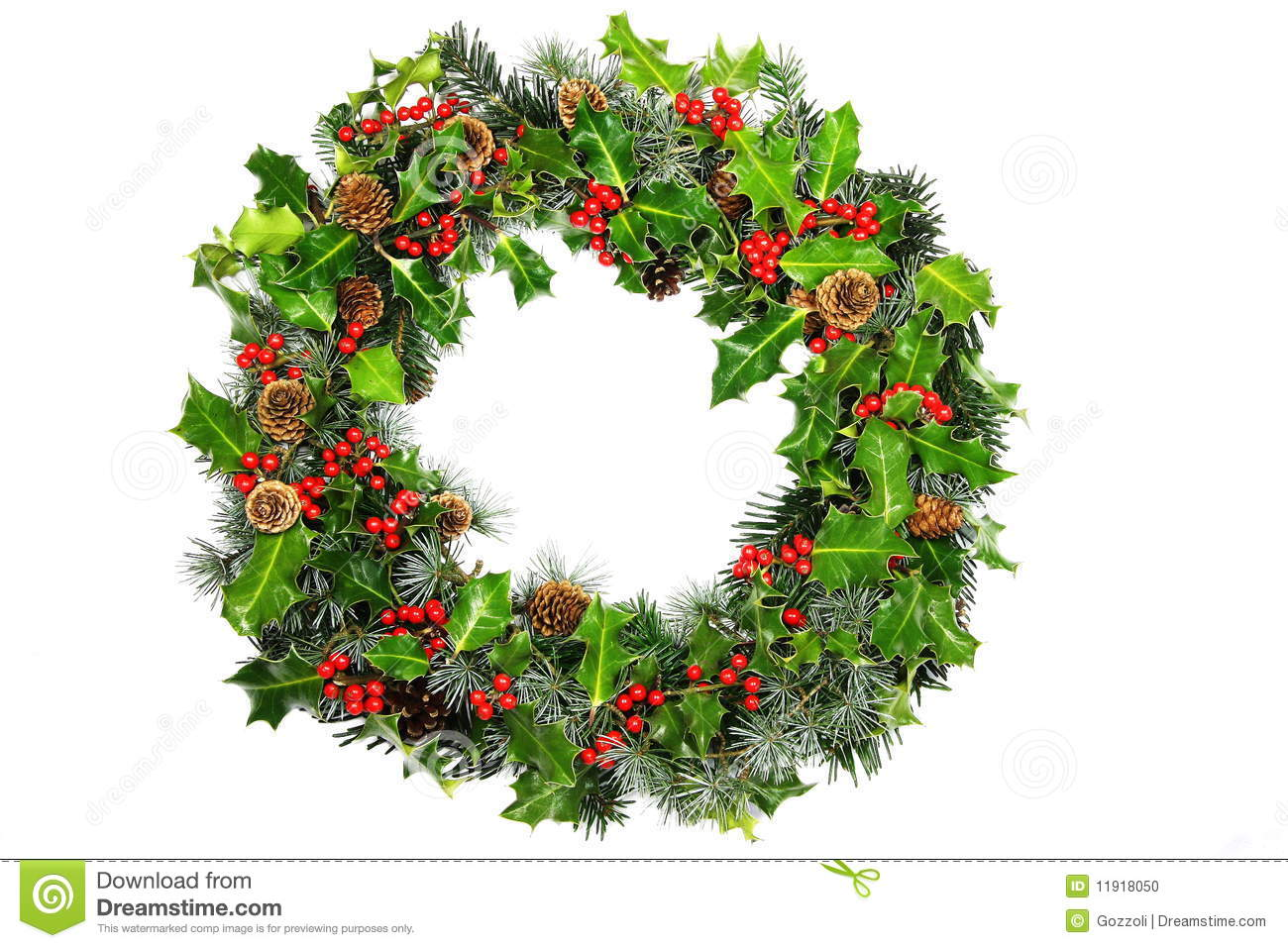 Christmas Holly Wreath Royalty Free Stock Images.