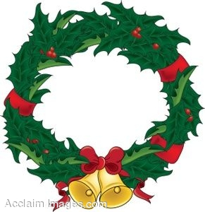 Clip Art Christmas Wreath With Bells.