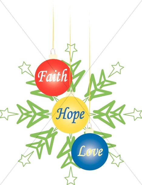 Faith Hope Love Christmas Ornaments.