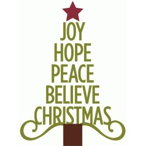 Silhouette Design Store: joy hope peace christmas tree.