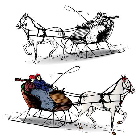 338 Horse Sleigh Stock Vector Illustration And Royalty Free Horse.