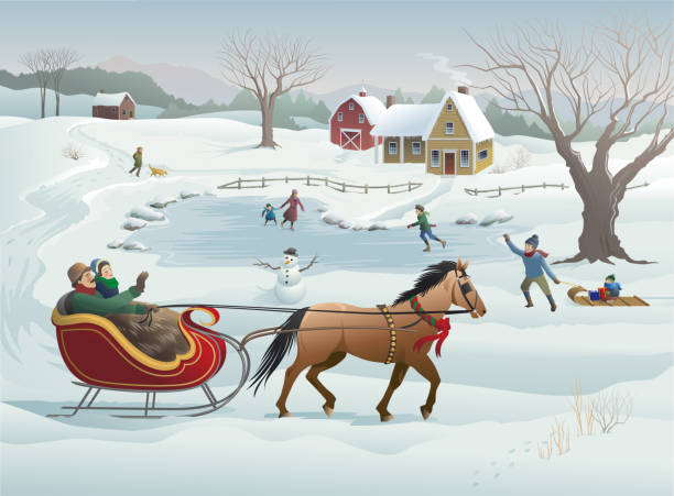 Best Horse Sleigh Illustrations, Royalty.