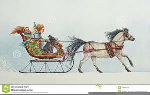 Christmas Horse And Carriage Clipart.