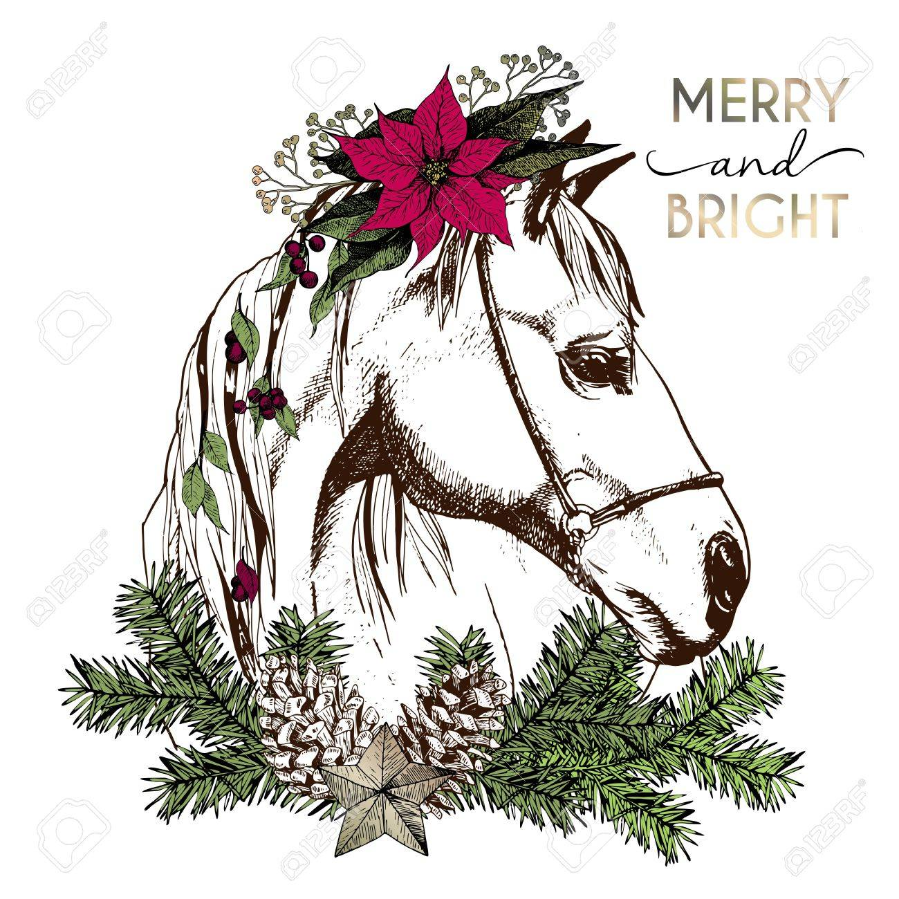 Vector portrait of boho Christmas horse. Decorated with winter...