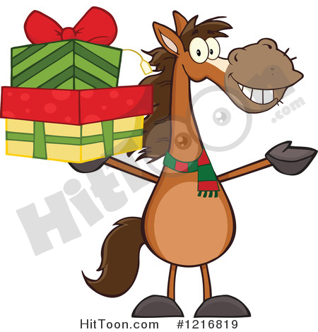 Horse Clipart #1216819: Happy Brown Horse Holding up a Stack of.