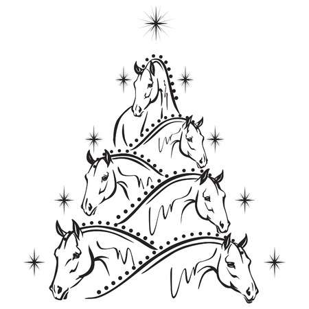 5,125 Christmas Horse Stock Vector Illustration And Royalty Free.