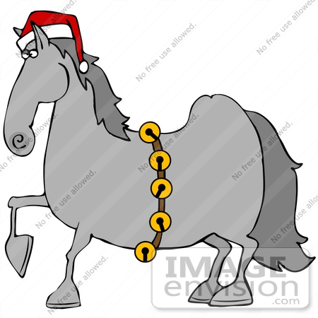 Clip Art Graphic of a Festive Christmas Horse Wearing A Santa Hat.