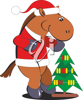 Royalty Free Clipart Image of a Christmas Horse #977482.