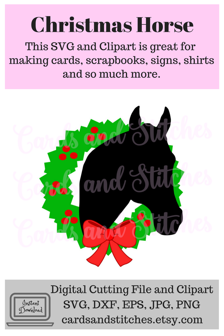 This Christmas Horse SVG Digital Cutting File and Clipart is perfect.
