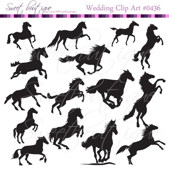 Christmas silhouette horse Clip Art Digital ClipArt Animal Clip Art  Holidays Scrapbooking 0436.