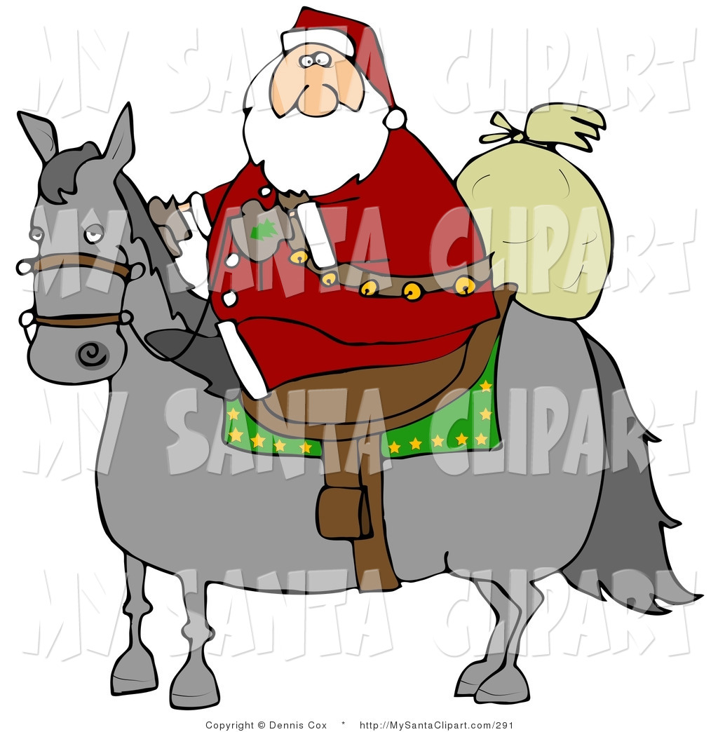 Christmas Clip Art of a Caucasian Santa Claus Riding on a Gray Horse.