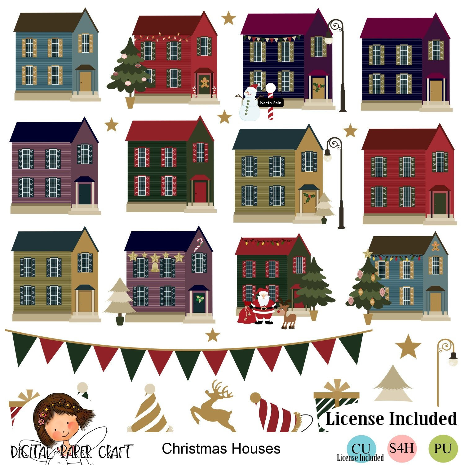 Christmas House Clipart, Holiday Clipart, Christmas Clipart, Instant  download, House Clipart.
