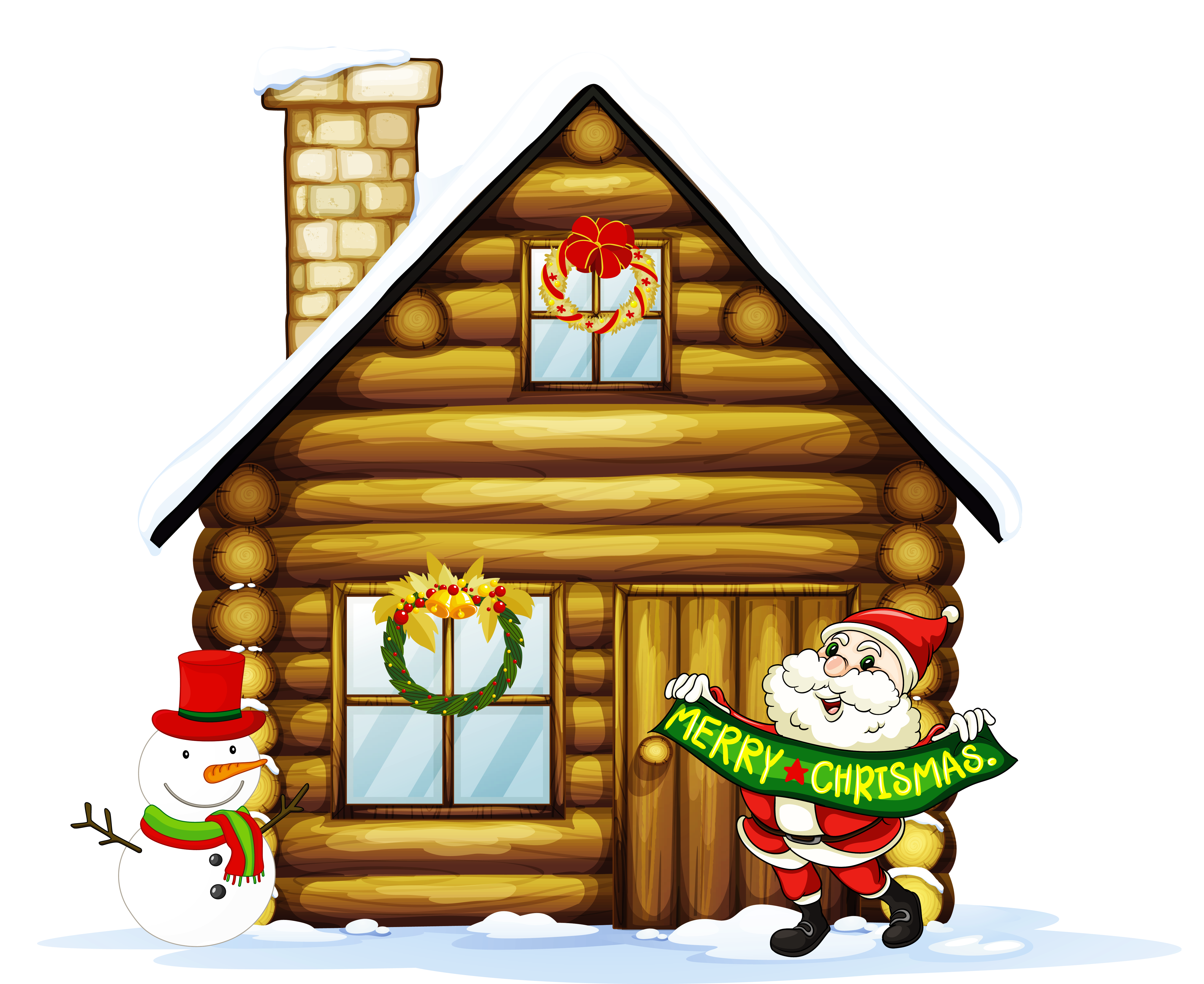 Transparent Christmas House with Santa and Snowman Clipart.
