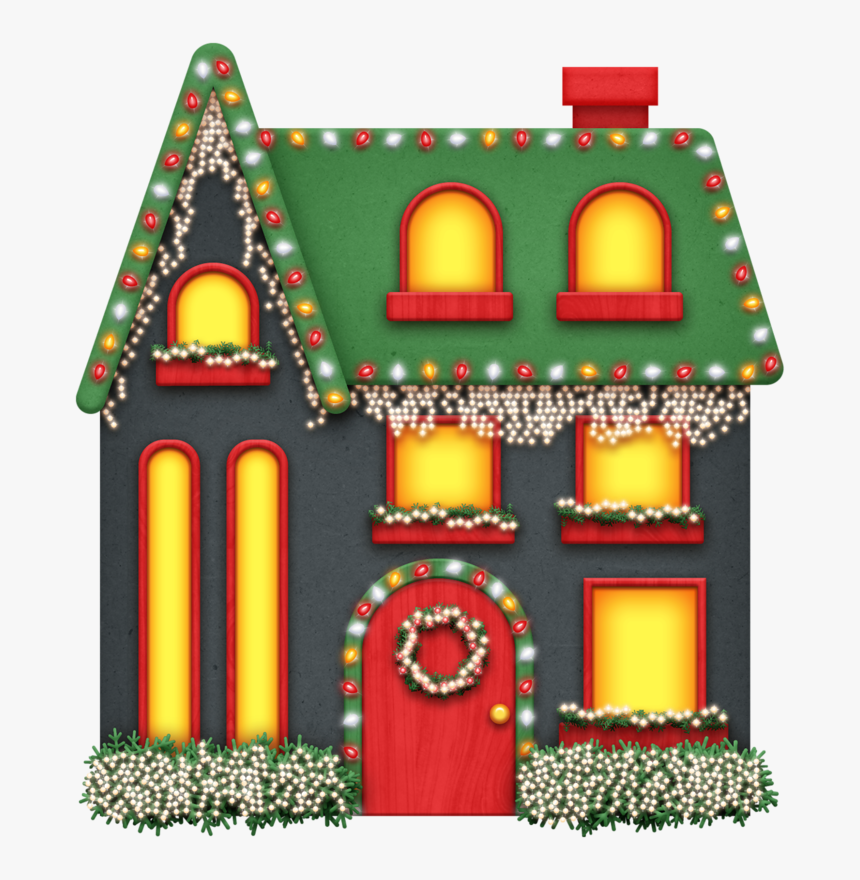 Free Christmas House With Lights, HD Png Download.