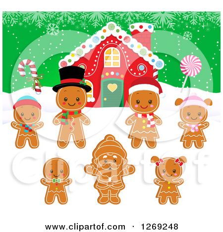 Clipart of a Gingerbread House with Gingerbread People Cookies.