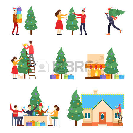 Christmas House People Clipart.