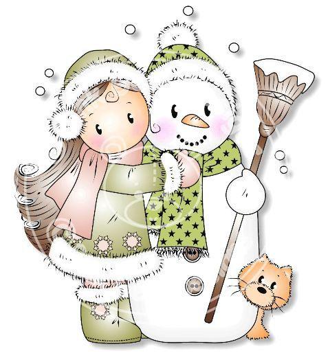 Digital Digi \'Snow Hugs\' Stamp. Makes Cute by PinkGemDesigns.