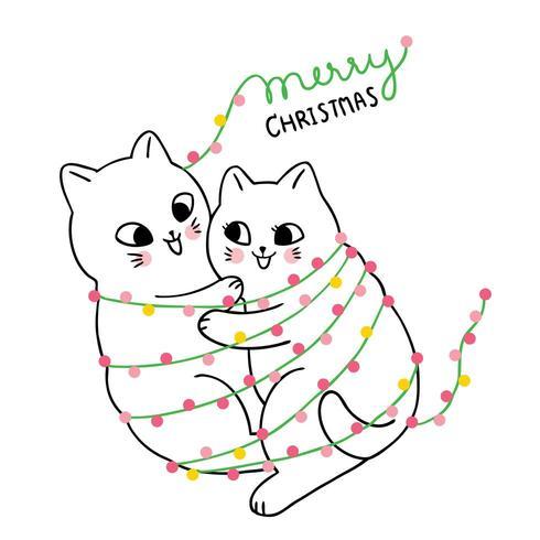Cartoon cute Christmas Couple cat hugging.