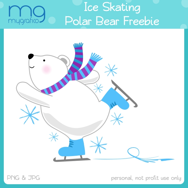 Ice Skating Polar Bear Clipart Freebie.