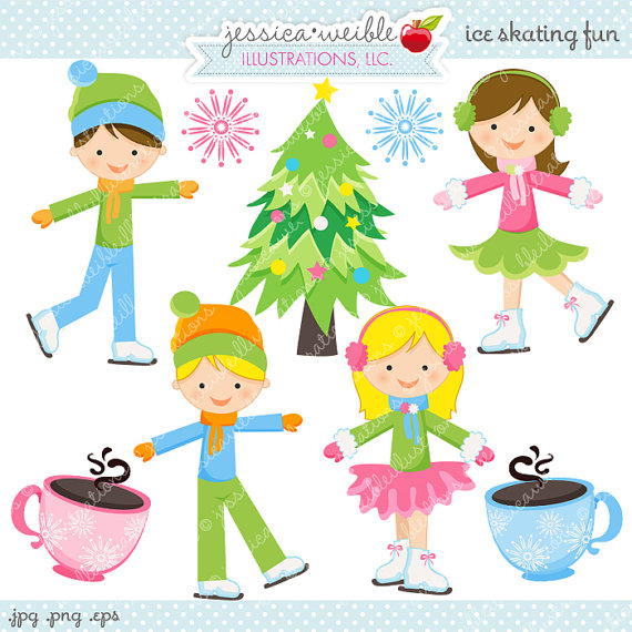 Christmas Clipart Ice Skating.