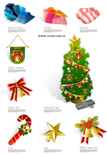 Winter clothes and Christmas icon Clipart Picture.