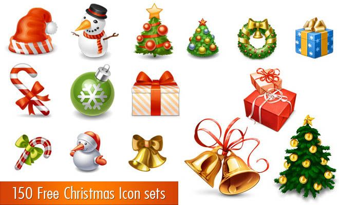 150 Free Christmas Icon Sets for Graphic and Web designers.