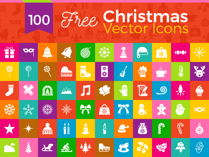 100 Free Christmas Vector Icons in Ai, EPS & PNG Format 2016 by Zee.