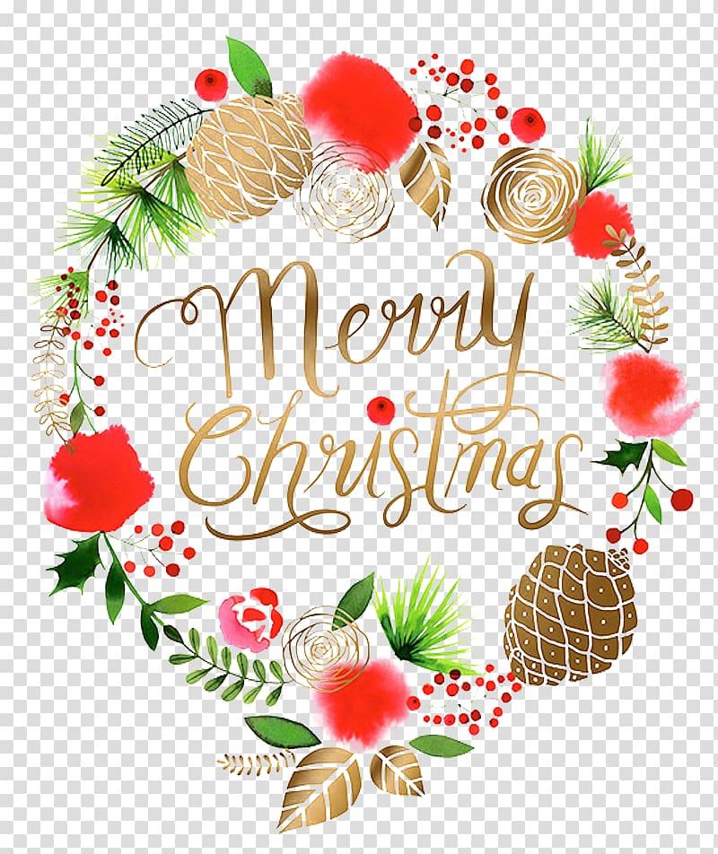 Merry Christmas illustration, Christmas Wreath Santa Claus.