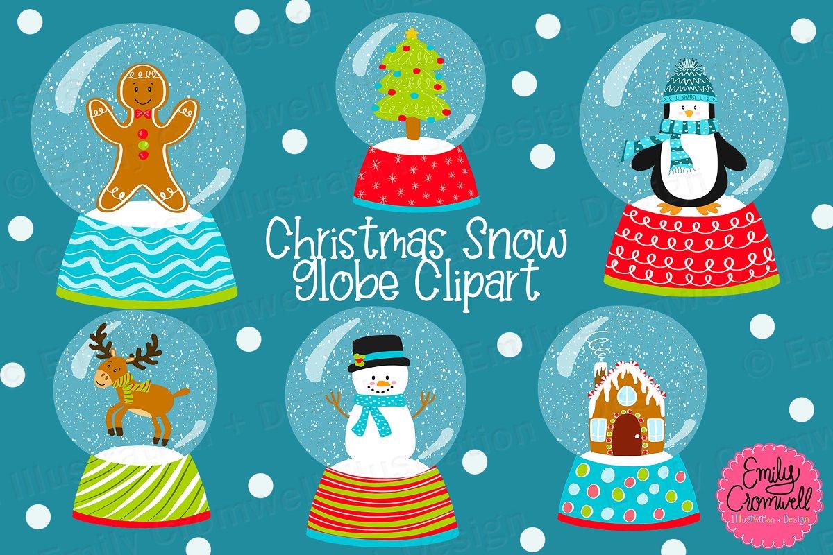 Christmas Snow Globe Digital Clipart.