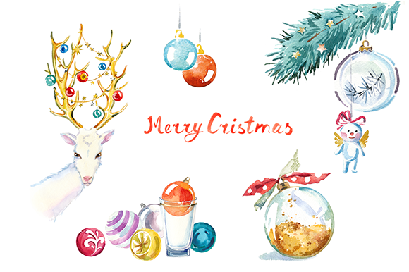 Watercolor Christmas clipart set ~ Illustrations on Creative.