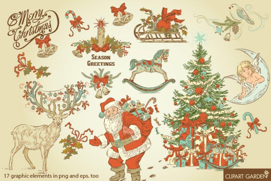 Vintage style CHRISTMAS clip art ~ Illustrations ~ Creative.