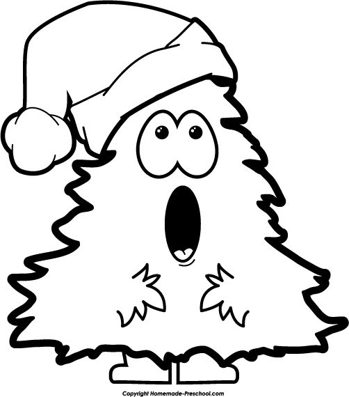 Merry Christmas Black And White Clipart.