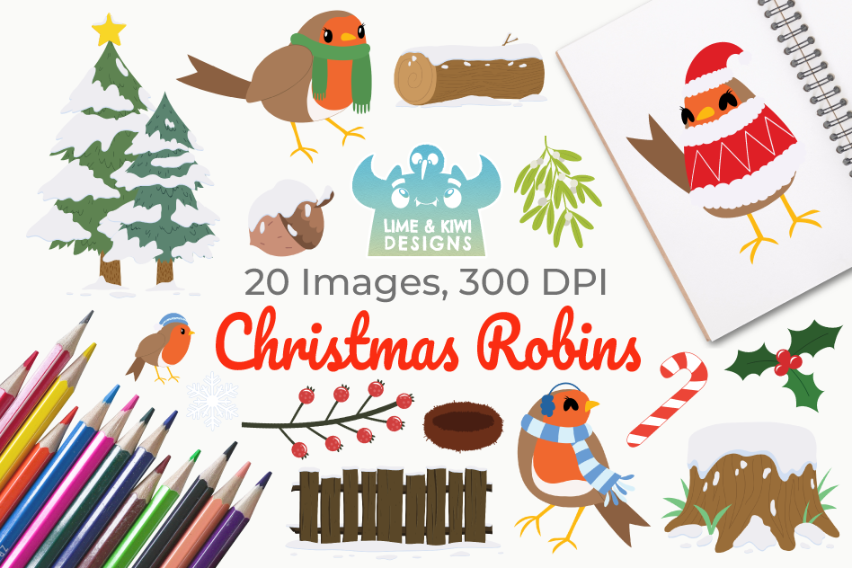 Christmas Robins Clipart, Instant Download Vector Art.