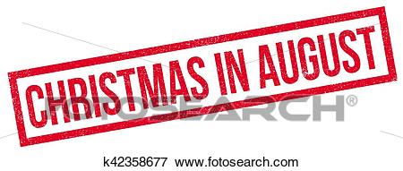 Christmas In August rubber stamp Clip Art.