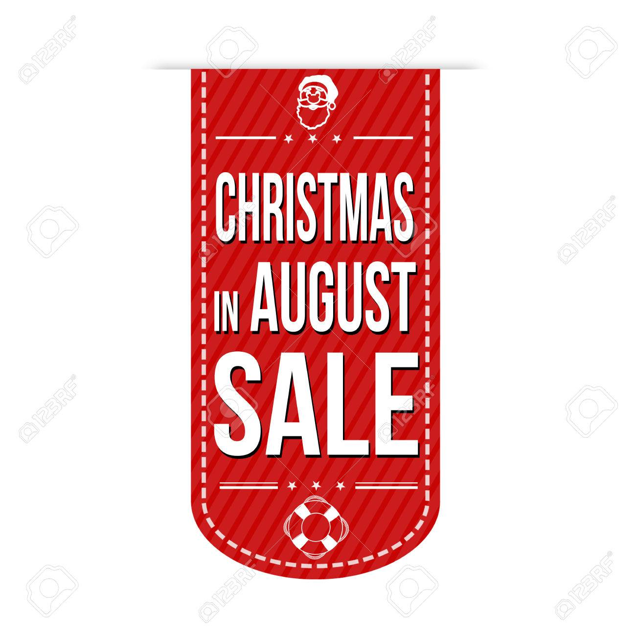 Christmas in august sale banner design over a white background,...