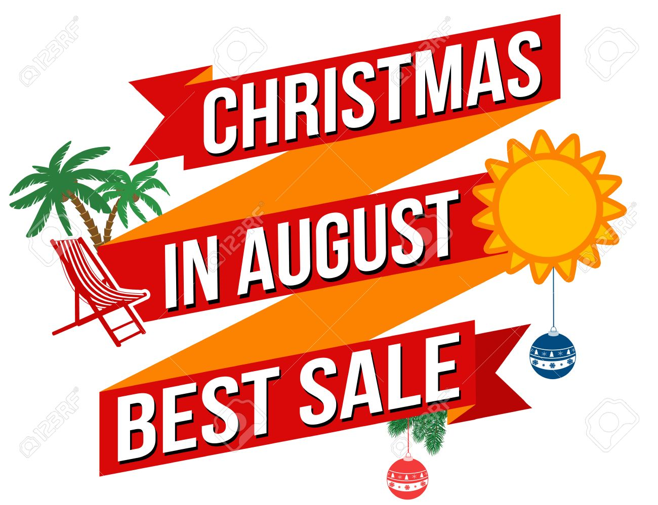 Christmas in august best sale banner design over a white background.