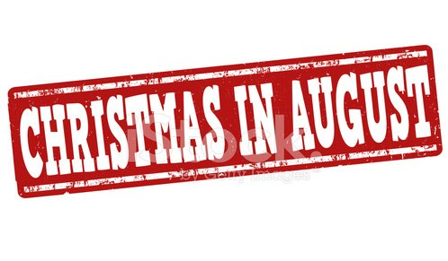 Christmas in august stamp Clipart Image.