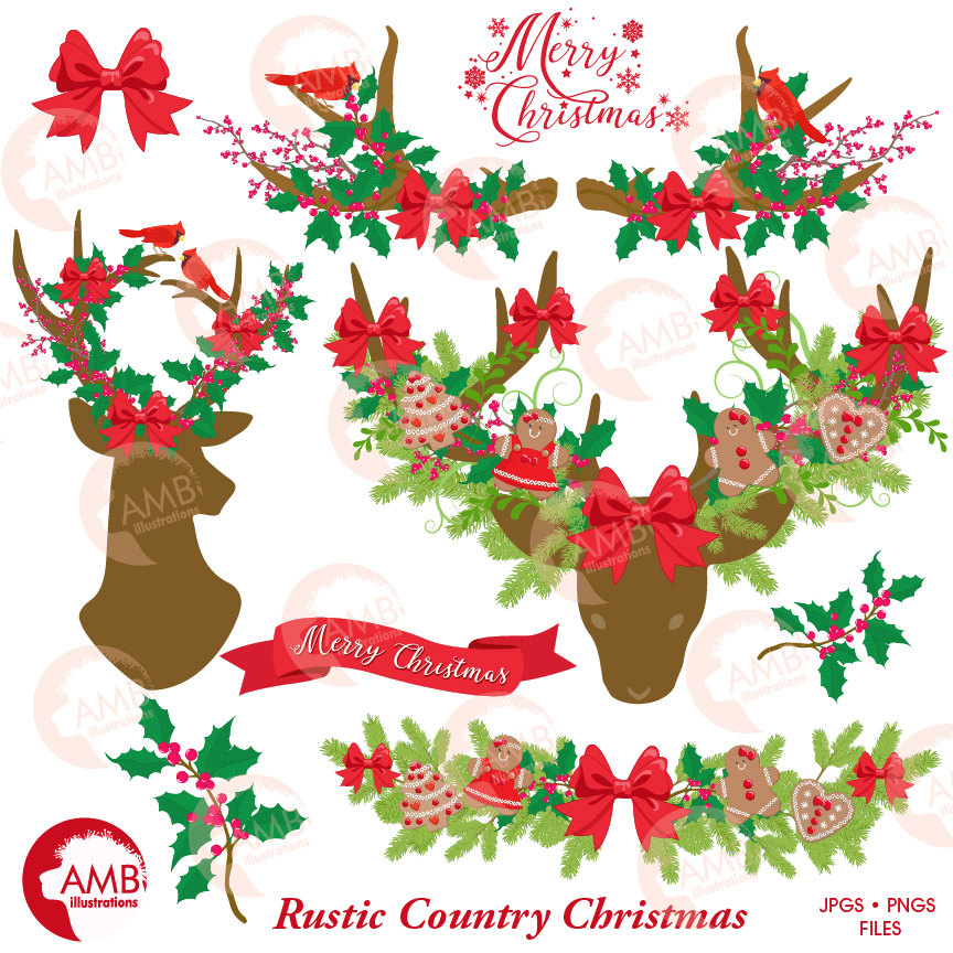 Rustic Country Christmas clip art, Christmas Antler clipart, Floral Deer  clipart, Antler clipart, Rustic clipart, AMB.